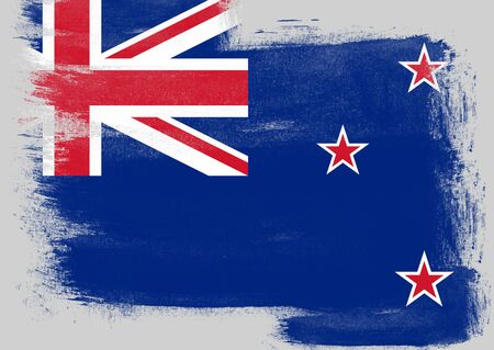 solid background: Flag of New Zealand painted with brush on solid background, Stock Photo
