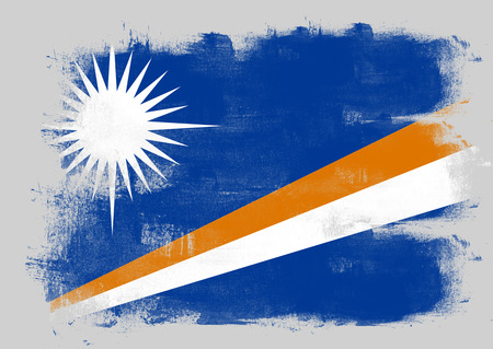 marshall: Flag of Marshall Islands painted with brush on solid background,