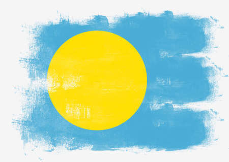 solid background: Flag of Palau painted with brush on solid background, Stock Photo