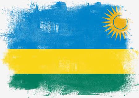 rwanda: Flag of Rwanda painted with brush on solid background,