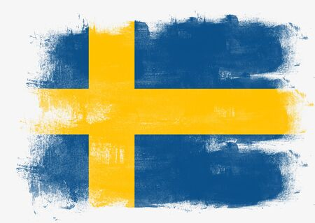 solid background: Flag of Sweden painted with brush on solid background, Stock Photo