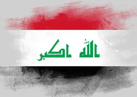 solid background: Flag of Iraq painted with brush on solid background, Stock Photo