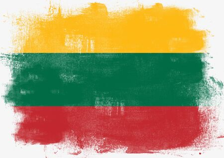 solid background: Flag of Lithuania painted with brush on solid background,