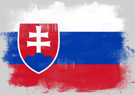 solid background: Flag of Slovakia painted with brush on solid background,