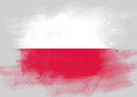 solid background: Flag of Poland painted with brush on solid background,