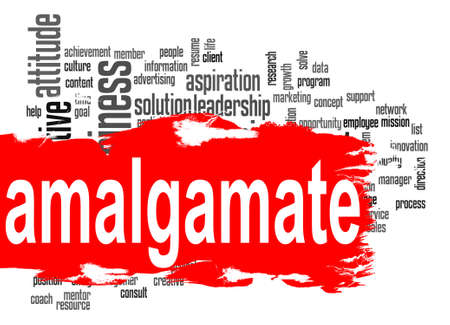 amalgamate: Amalgamate word cloud with red banner image with hi-res rendered artwork that could be used for any graphic design.