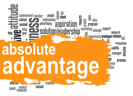 absolute: Absolute advantage word cloud with orange banner image with hi-res rendered artwork that could be used for any graphic design. Stock Photo