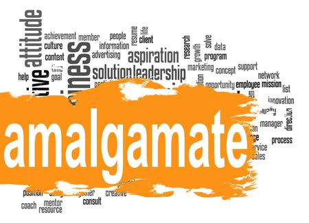 amalgamate: Amalgamate word cloud with orange banner image with hi-res rendered artwork that could be used for any graphic design. Stock Photo