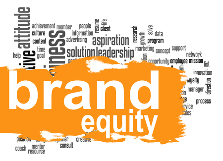 Brand equity word cloud with orange banner image with hi-res rendered artwork that could be used for any graphic design.