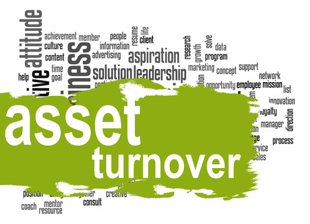 leverage: Asset turnover word cloud with green banner image with hi-res rendered artwork that could be used for any graphic design.