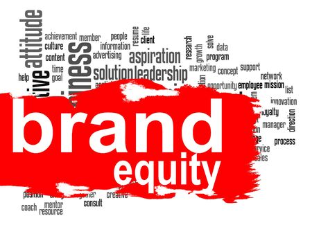 Brand equity word cloud with red banner image with hi-res rendered artwork that could be used for any graphic design. Stock Photo