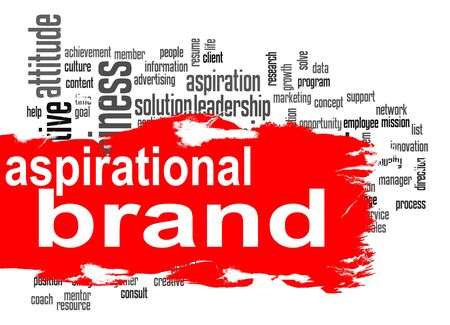 aspirational: Aspirational brand word cloud with red banner image with hi-res rendered artwork that could be used for any graphic design.