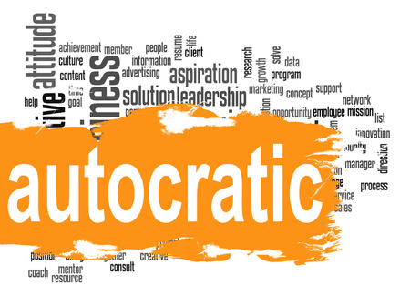 offenses: Autocratic word cloud with orange banner image with hi-res rendered artwork that could be used for any graphic design.