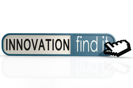 innovation word: Innovation word on the blue find it banner image with hi-res rendered artwork that could be used for any graphic design. Stock Photo