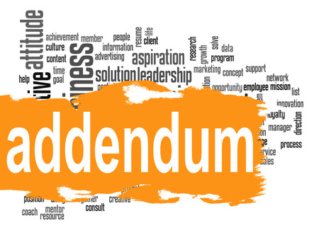 estimation: Addendum word cloud with orange banner image with hi-res rendered artwork that could be used for any graphic design. Stock Photo