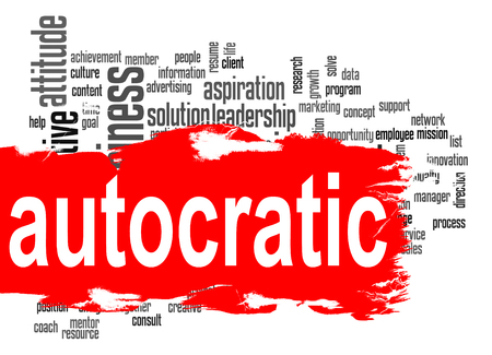 Autocratic word cloud with red banner image with hi-res rendered artwork that could be used for any graphic design.