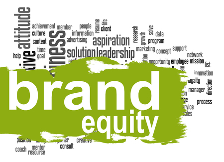 Brand equity word cloud with green banner image with hi-res rendered artwork that could be used for any graphic design. Stock fotó