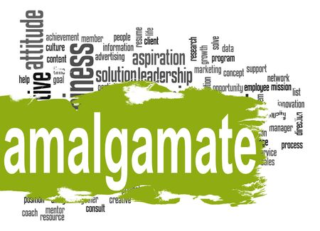 amalgamate: Amalgamate word cloud with green banner image with hi-res rendered artwork that could be used for any graphic design. Stock Photo
