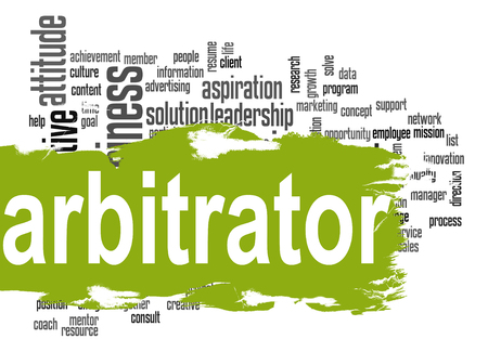 arbitrator: Arbitrator word cloud with green banner image with hi-res rendered artwork that could be used for any graphic design.