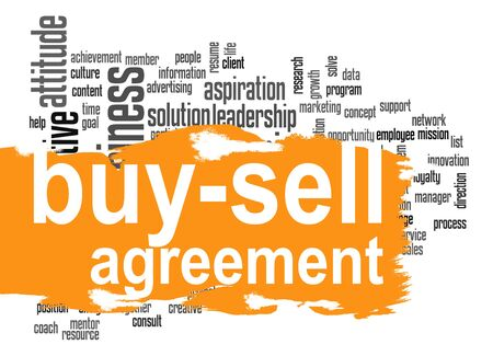 partnership security: Buy sell agreement word cloud with orange banner image with hi-res rendered artwork that could be used for any graphic design. Stock Photo