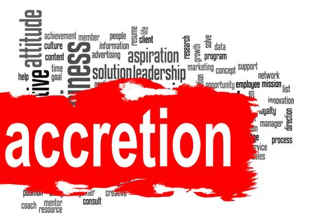 accretion: Accretion word cloud with red banner image with hi-res rendered artwork that could be used for any graphic design.