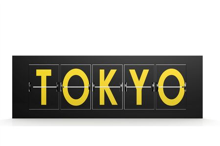arrival: Tokyo word on airport sign image with hi-res rendered artwork that could be used for any graphic design. Stock Photo