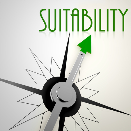 suitability: Suitability on green compass. Concept of healthy lifestyle Stock Photo