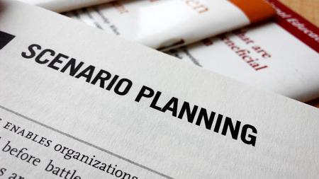 scenario: Scenario planning word on a book. Business success concept