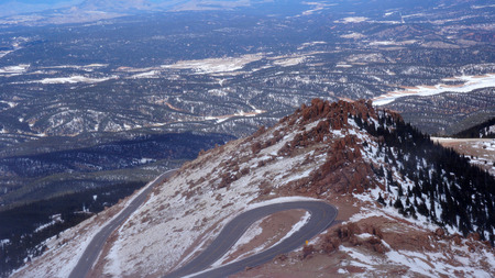 View from Pike Peak summit in Colorado Springs, CO. Stock Photo