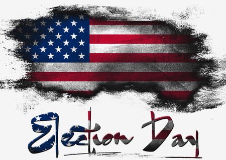 solid background: Flag of United States painted with brush on solid background, USA Election Day