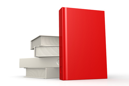 mediate: Stack of books red isolated image with hi-res rendered artwork that could be used for any graphic design. Stock Photo