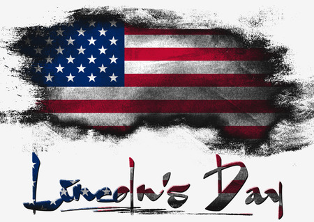 solid background: Flag of United States painted with brush on solid background, Lincoln Day Stock Photo