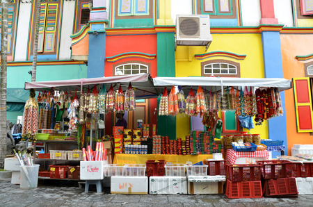 teng: SINGAPORE - NOV 07, 2015: The colorful house of Tan Teng Niah in Singapores Little India. This eight-room Chinese villa was built by prominent Chinese businessman Tan Teng Niah in 1900. Editorial