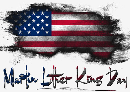 martin: Flag of United States painted with brush on solid background, USA Martin Luther King Day Stock Photo