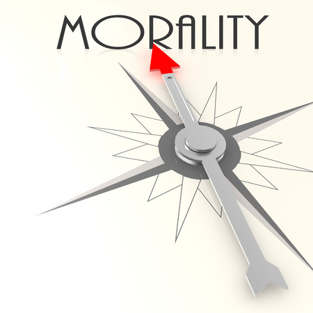 morality: Compass with morality word image with hi-res rendered artwork that could be used for any graphic design. Stock Photo