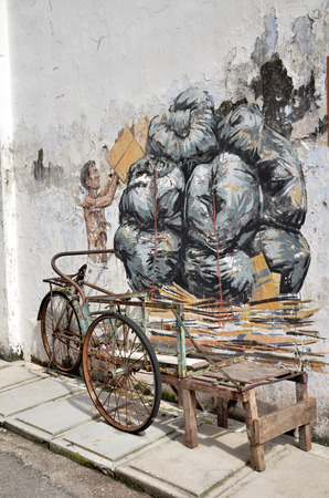 trishaw: IPOH, MALAYSIA - 25 NOV 2015: Trishaw painted by Ernest Zacharevic in Ipoh.