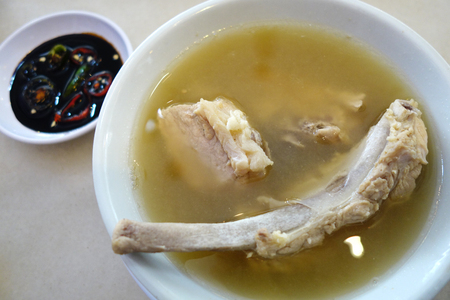 peppery: Singapore style pork and herbal soup, spicy peppery soup (bak kut teh)