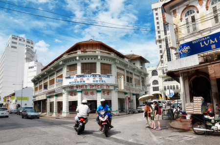 PENANG, MALAYSIA- 26 NOV,2015: Buildings in George Town UNESCO World Heritage Site, officially recognised as having a unique architectural and cultural townscape without parallel anywhere in Southeast Asia. 에디토리얼
