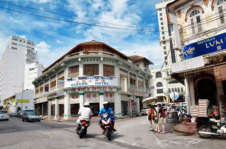 PENANG, Maleisië- 26 november 2015: Gebouwen in George Town UNESCO World Heritage Site, officieel erkend als het hebben van een unieke architectonische en culturele stadsgezicht zonder weerga ergens in Zuidoost-Azië.