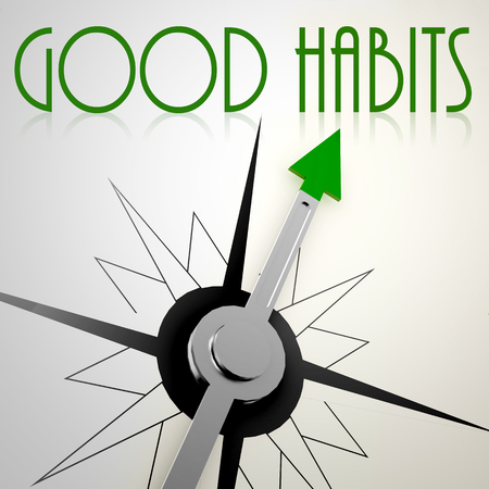 good habits: Good Habits on green compass. Concept of healthy lifestyle Stock Photo