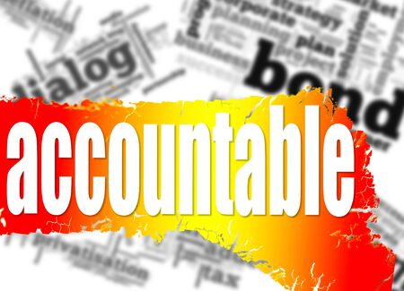 accountable: Word cloud with accountable word image with hi-res rendered artwork that could be used for any graphic design. Stock Photo