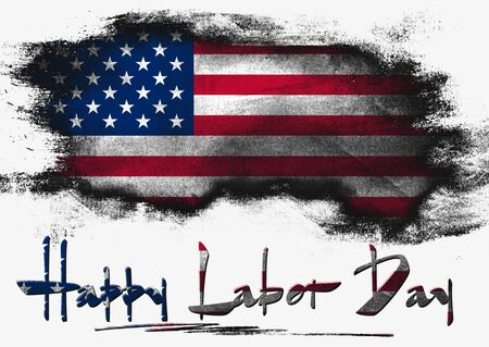 solid background: Flag of United States painted with brush on solid background, Labor Day