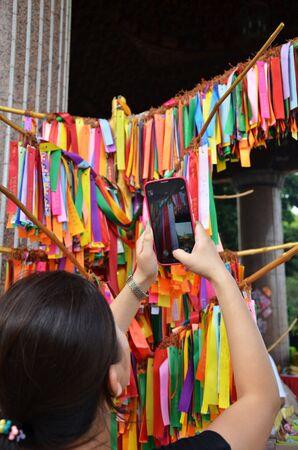 blessing: Blessing ribbons hang outside in Kek Lok Si, Penang, Malaysia