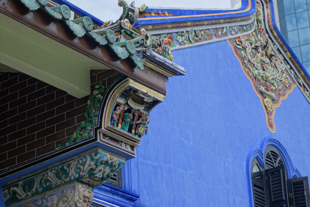 mansion: PENANG, MALAYSIA - NOV 26, 2015:  Old historical Chinese influence mansion, Fatt Tze Mansion or Blue Mansion, famous oriental historical building in Georgetown, Penang, Malaysia