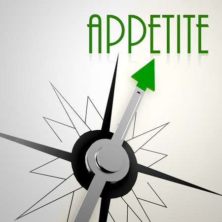 Appetite on green compass. Concept of healthy lifestyle