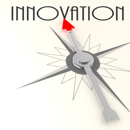 innovation word: Compass with innovation word image with hi-res rendered artwork that could be used for any graphic design.
