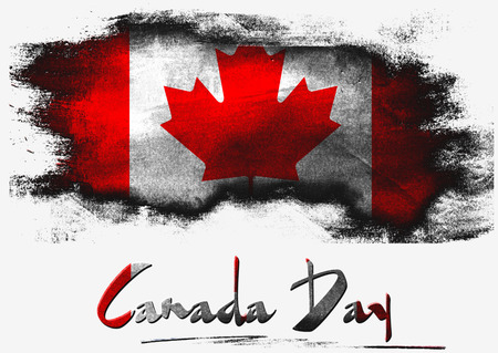 Canada Day with Canada flag on white background