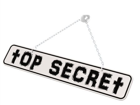 secret word: Top secret word on white banner and isolated