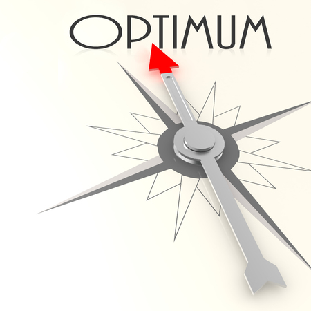 best guide: Compass with optimum word image with hi-res rendered artwork that could be used for any graphic design. Stock Photo
