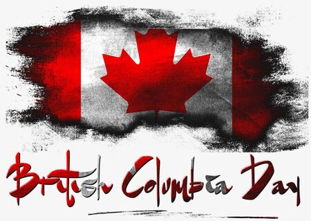 british columbia: British Columbia with Canada flag with brush on solid background,